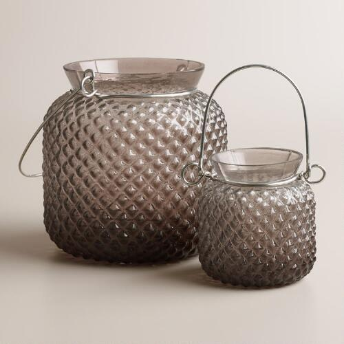 Gray Opaque Glass Honeycomb Lantern