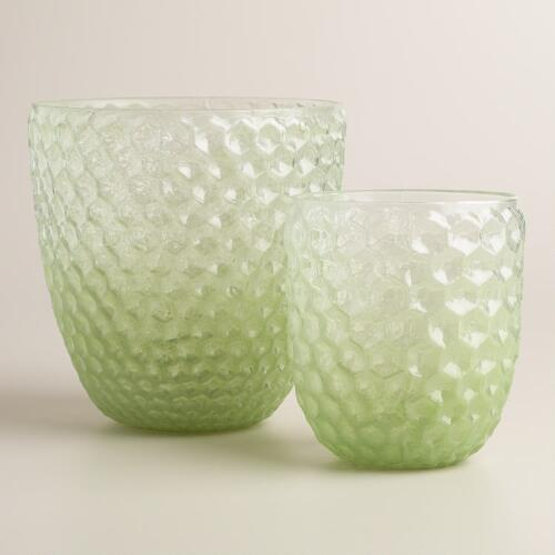 Green Ombre Glass Honeycomb Hurricane Candleholder