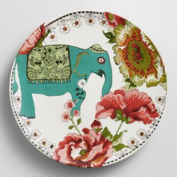 Turquoise Nomad Elephant Plates, Set of 4