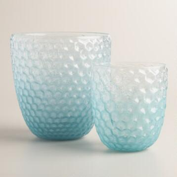 Blue Ombre Glass Honeycomb Hurricane Candleholder