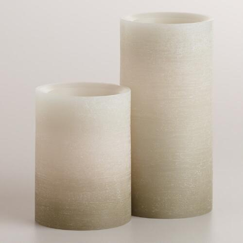 Gray Ombre LED Pillar Candle