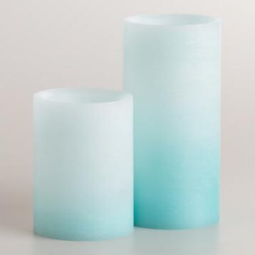 Blue Ombre LED Pillar Candle