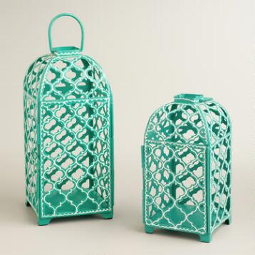 Teal Ethel Cutout Lantern