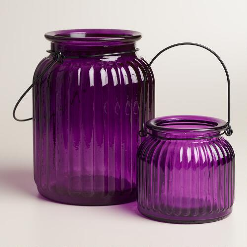 Purple Ribbed  Glass Lantern Candleholder