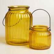 Yellow Ribbed Glass Lantern Candleholder