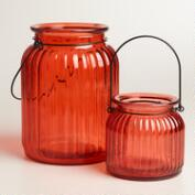 Orange  Ribbed Glass Lantern Candleholder