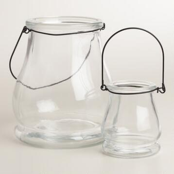 Clear Glass Teardrop Lantern Candleholder