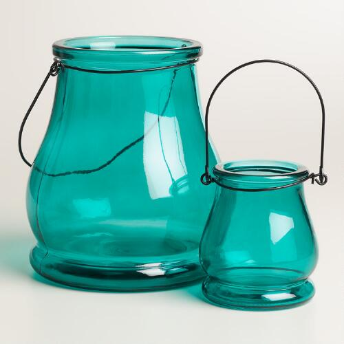 Teal Glass Teardrop Lantern Candleholder