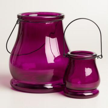 Purple Glass Teardrop Lantern Candleholder