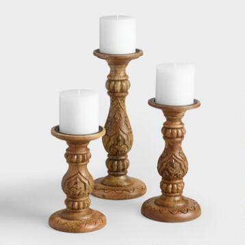Natural Wood Satara Candleholder