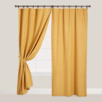 Yellow Canvas Ring Top Jaya Curtains, Set of 2
