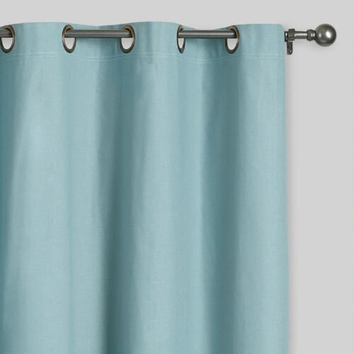 Blue Parker Grommet Top Curtains, Set of 2