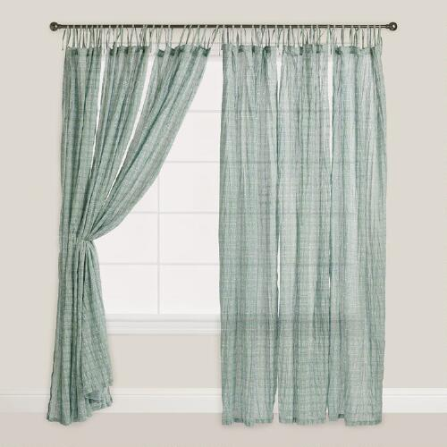 Aqua and Navy Bhuti Tie Top Crinkle Voile Curtains, Set of 2