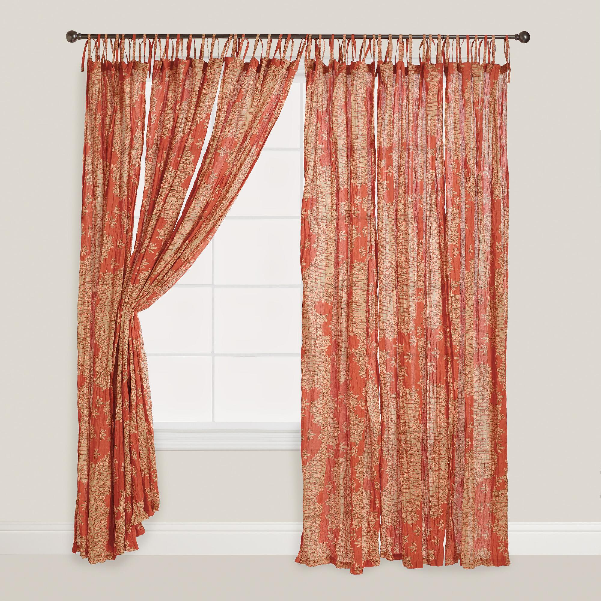 Coral Bamboo Print Tie Top Crinkle Voile Curtains Set Of