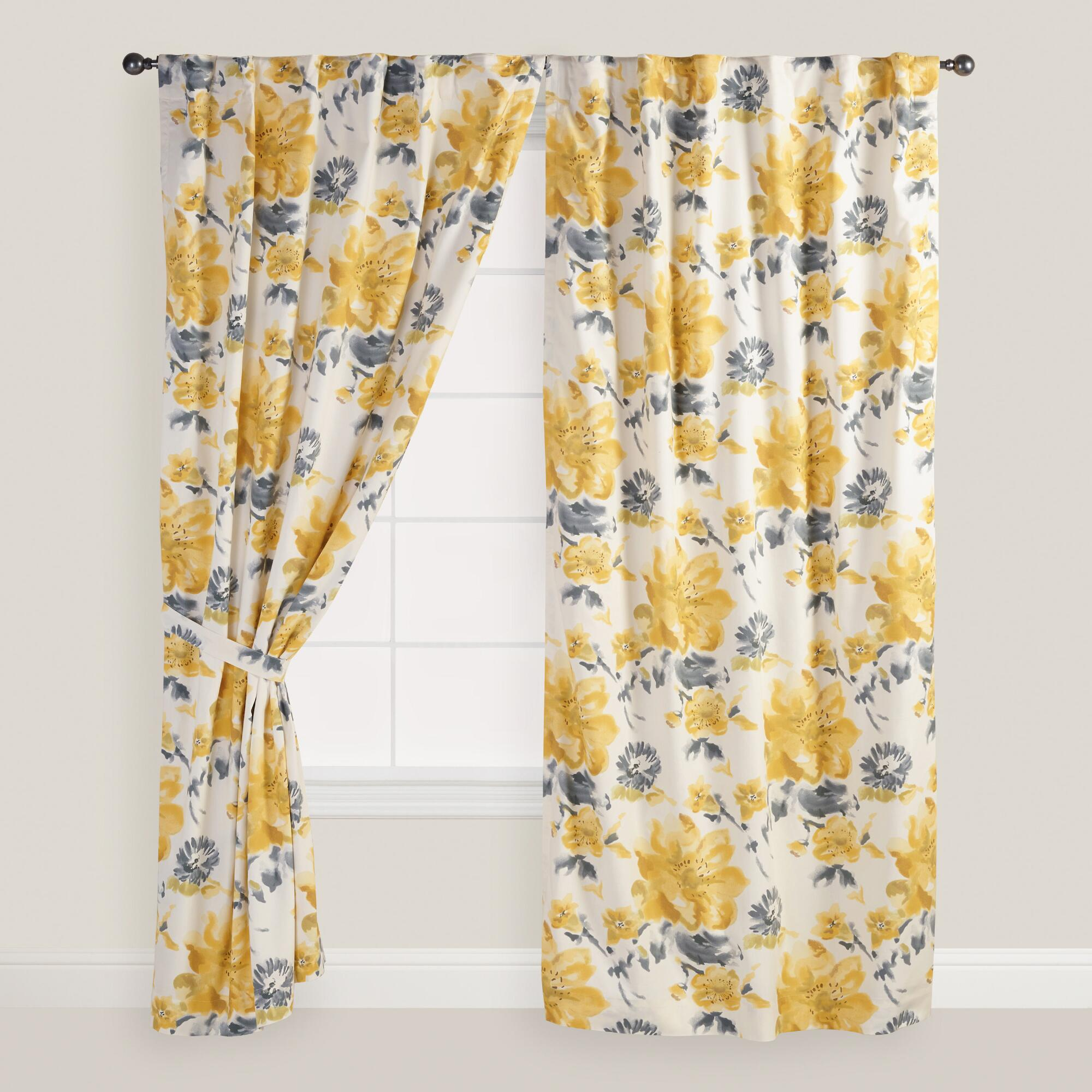 Kitchen Curtains Yellow And Gray: Yellow And Gray Floral Fleurs Curtains, Set Of 2