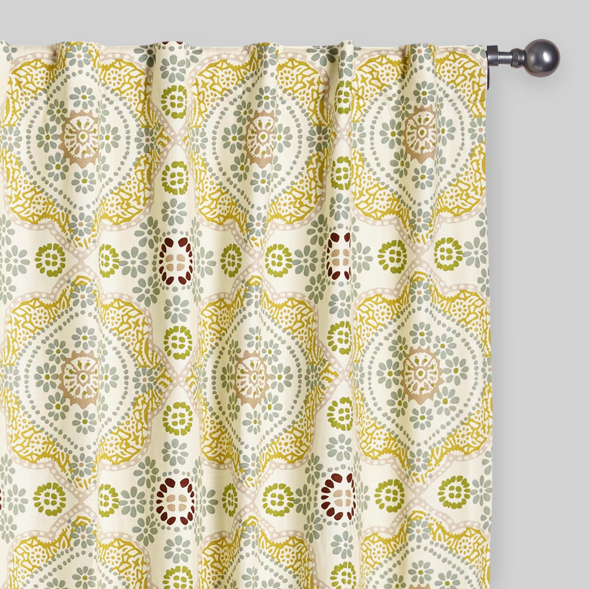 Multicolor Mosaic Concealed Tab Top Curtains Set Of 2