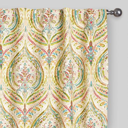 Multicolor Ogee Concealed Tab Top Curtains, Set of 2
