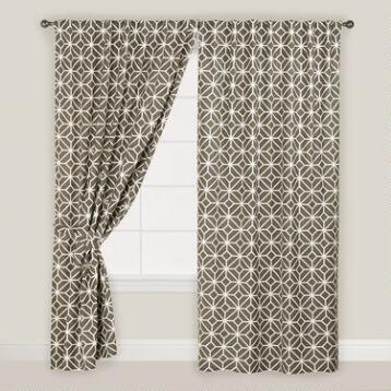Gray Geometric Tile Concealed Tab Top Curtains, Set of 2
