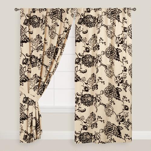Black Flocked Floral Laurent Curtains, Set of 2