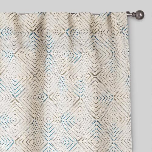Aqua and Green Geo Print Tab Top Jute Curtains, Set of 2