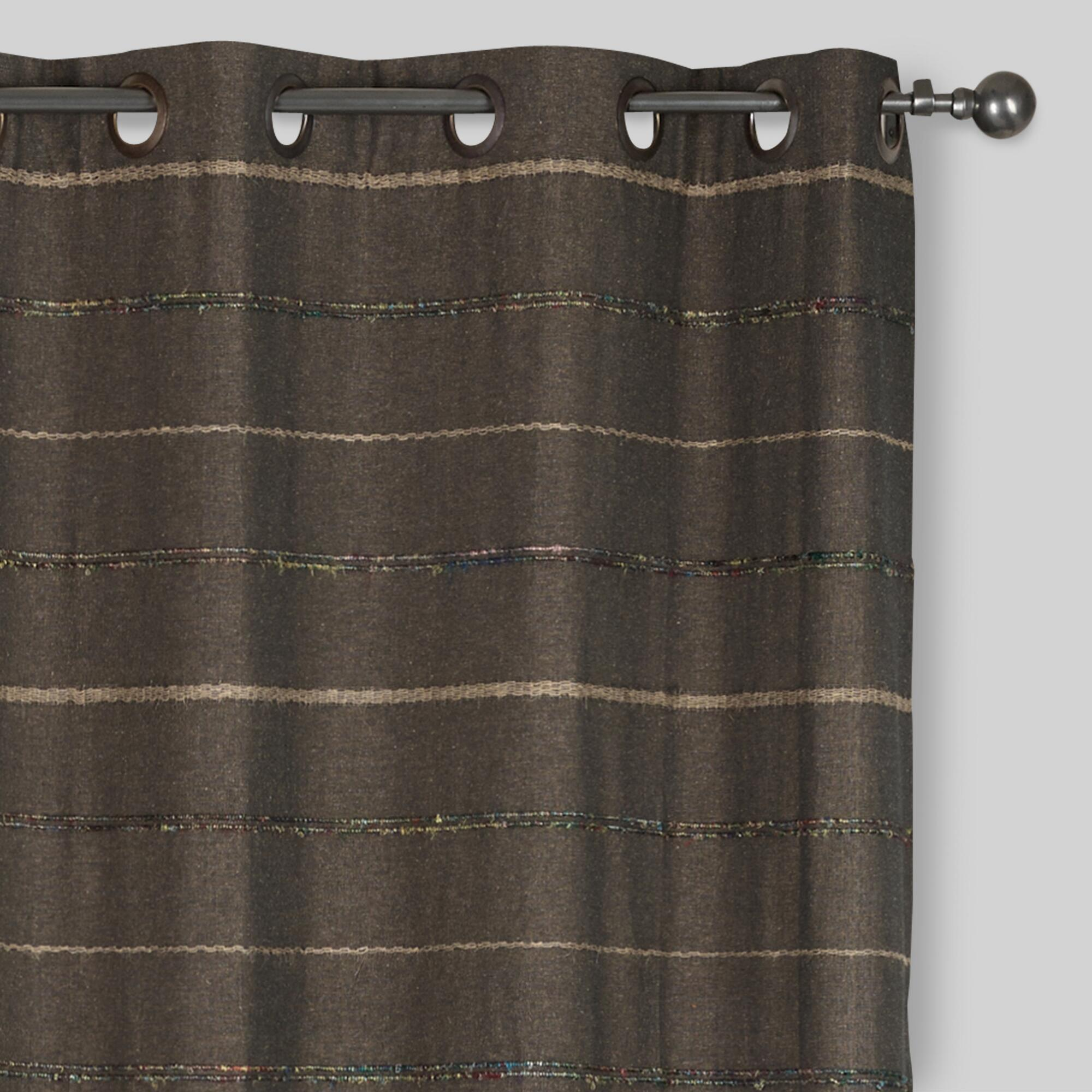 Gray Striped Chambray Grommet Top Curtains, Set of 2  World Market