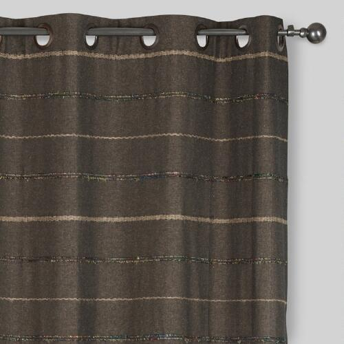 Gray Striped Chambray Grommet Top Curtains, Set of 2
