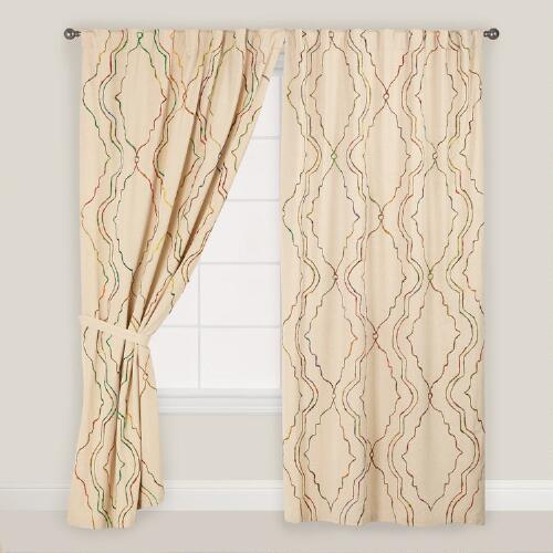 Geo Sari Chambray Concealed Tab Top Curtains, Set of 2