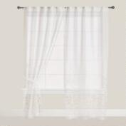 White Bird Print Sleeve Top Sheer Curtains, Set of 2