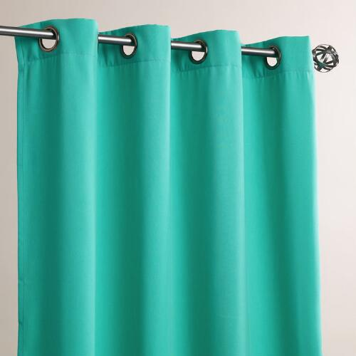 Aqua Grommet Top Outdoor Curtains, Set of 2