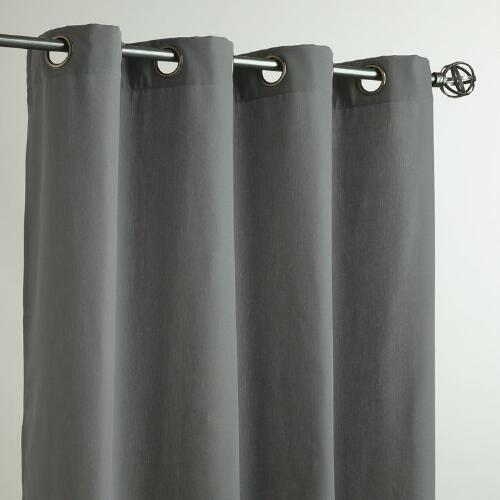 Charcoal Gray Grommet Top Outdoor Curtains, Set of 2