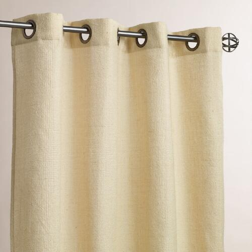 Ivory Grommet Top Textured Outdoor Curtains, Set of 2