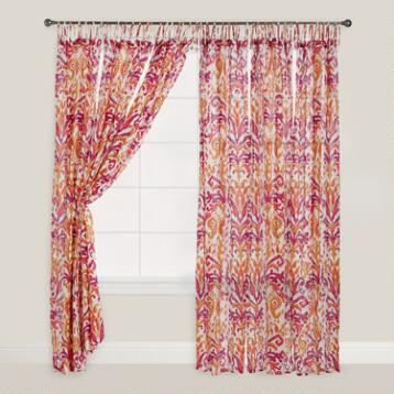 Pink and Orange Ikat Crinkle Voile Curtains, Set of 2