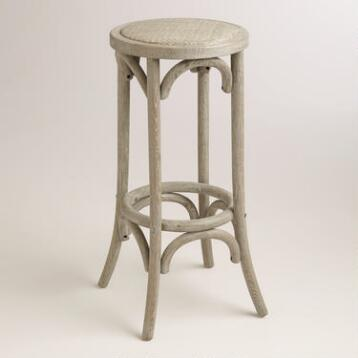 Wood and Rattan Syena Backless Barstool
