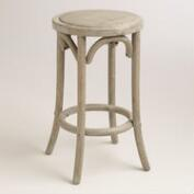 Wood and Rattan Syena Backless Counter Stool