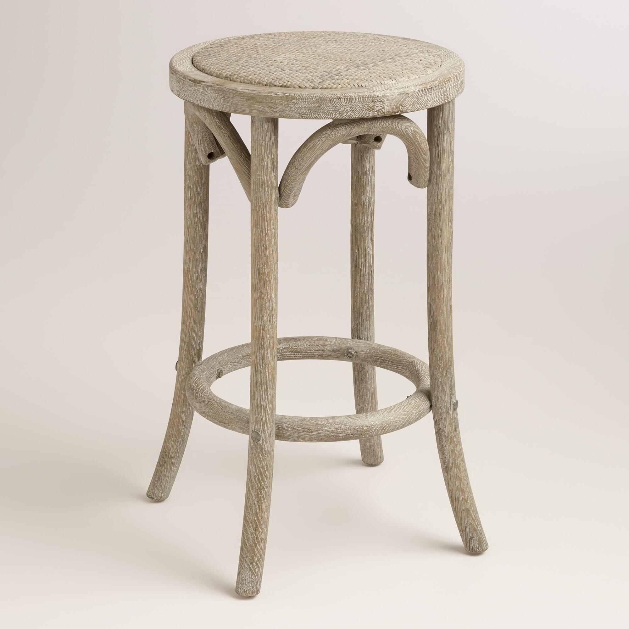 Wood And Rattan Syena Backless Counter Stool World Market
