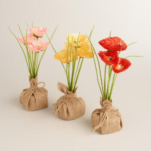 Poppy with Burlap Bases Set of 3