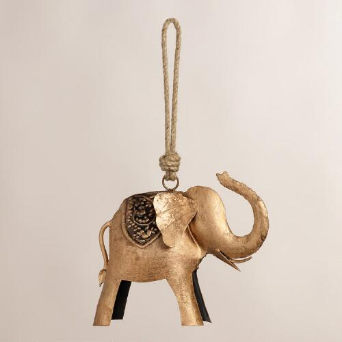 Embossed Metal Elephant Wind Chime