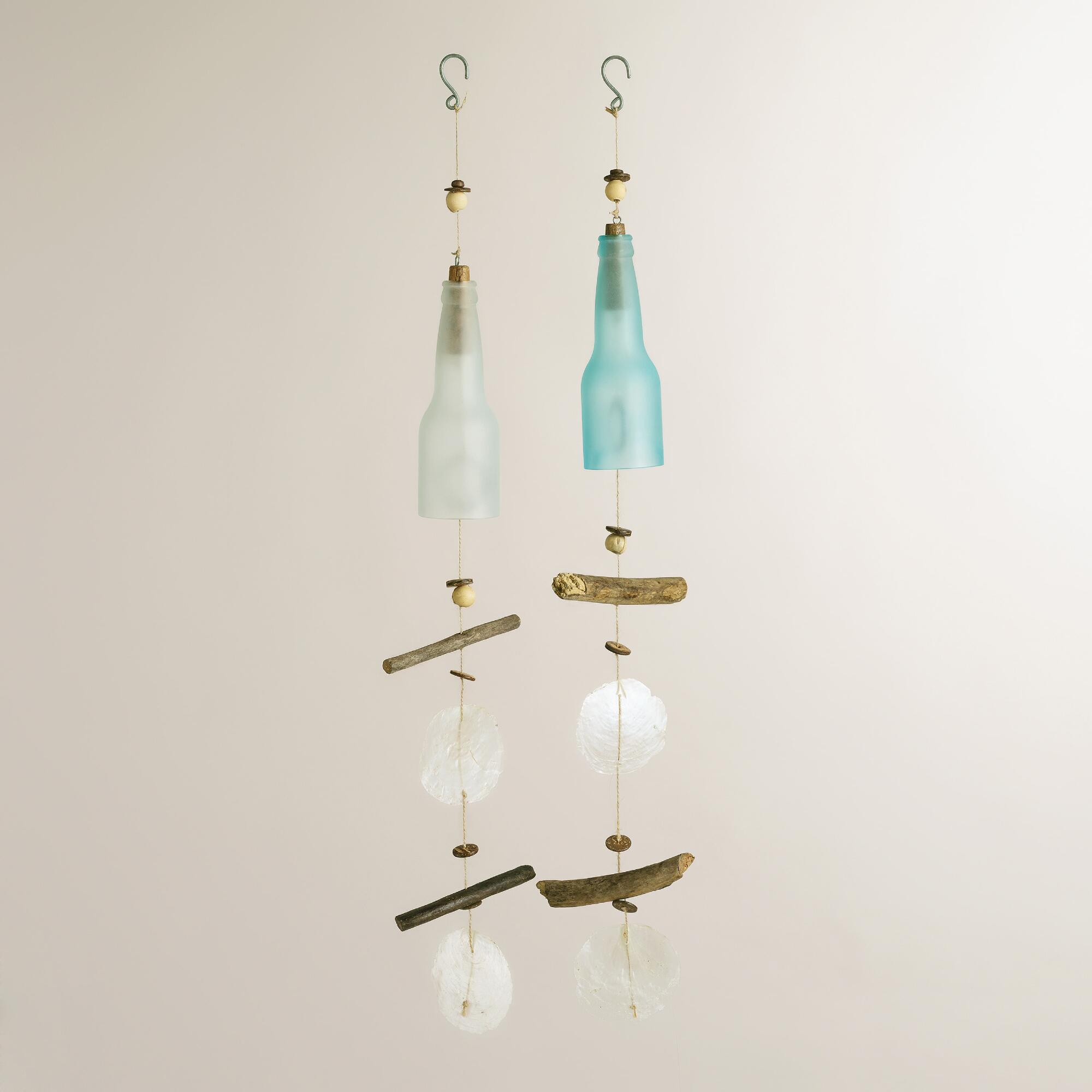 Glass bottle capiz and driftwood wind chimes set of 2 for Glass bottle wind chimes