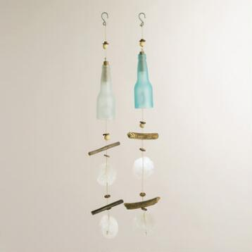 Glass Bottle, Capiz and Driftwood Wind Chimes, Set of 2