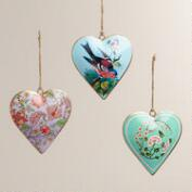 Valentines Day Heart Vintage Style Metal Ornaments, Set of 3