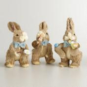 Natural Fiber Bunnies Eating Food, Set of 3
