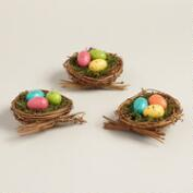 Bright Speckled Egg Nests, Set of 3