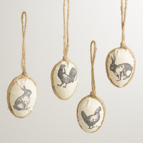 Screen-printed Egg Ornaments, Set of 4