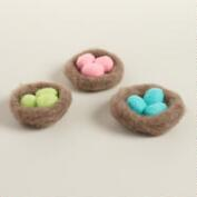Felt Nest with Eggs, Set of 3