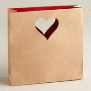 Small Die-Cut Heart Kraft Gift Bags, Set of 2