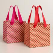 Mini Heart Kraft Paper Gift Bags, Set of 2