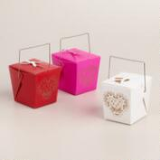 Mini Laser-Cut Heart  Takeout Boxes, Set of 12