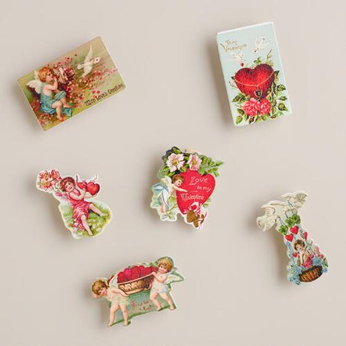 Vintage Postcard Wooden Clips, Set of 6