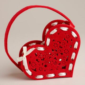 Red Laser-Cut Heart Felt Basket