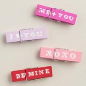 Hand-Painted Valentine's Day Wooden Clips, Set of 4